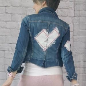 Graffiti Heart Hand Painted Crop Denim Jacket